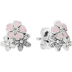 Pandora Earrings - Sterling Silver, Cubic Zirconia & Enamel Poetic... ($50) ❤ liked on Polyvore featuring jewelry, earrings, silver, sterling silver jewellery, sterling silver cz earrings, pandora jewelry, sterling silver earrings and pandora earrings