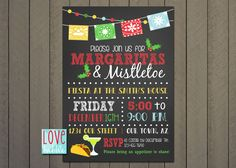 Christmas Holiday Party Fiesta Mexican Margarita Feliz Navidad Chalkboard invitation PRINTABLE DIGITAL FILE - 5x7 by lovebabble on Etsy https://www.etsy.com/listing/484805855/christmas-holiday-party-fiesta-mexican