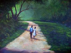 T. Ellis Fine Arts - - Our Walk, painting by famous African-American artist, Ted T. Ellis   T. Ellis with his own style of painting, captures the intimacy and the love shared by two. A courtship, a close friendship, a prized moment together with just a simple pleasurable walk.
