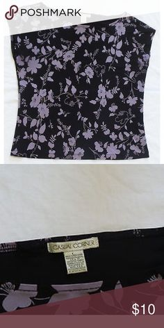 """Casual Corner floral top short sleeve shirt Casual Corner Womens black purple floral top short sleeve shirt  Size Large 100% Rayon Chest = 38"""" Length = 22""""  Excellent used condition - no rips, tears, stains or pilling. Casual Corner Tops Blouses"""