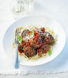 Not sure what to make for dinner? This spaghetti and meatballs recipe is easy and delicious. Find more dinner inspiration at BBC Good Food. Taco Bar, Homestead Survival, Crescent Rolls, Betty Crocker, Graham Crackers, Burritos, Bbc Good Food Recipes, Healthy Recipes, Mince Recipes