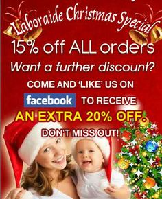Merry Christmas from Laboraide! As a special thank you to our customers we're giving everyone 15% off all orders placed at our online store    www.laboraide.com/shop For even more discount simply 'like' our Facebook page and receive a code for an extra 20% off your order    www.facebook.com/Laboraide    #christmas #offer
