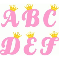 Silhouette Design Store: princess alphabet a-f Alphabet A, Cute Letters, Letters And Numbers, Silhouette Design, Silhouette Online Store, Creative Lettering, Cricut Creations, Coloring Pages, Mothers Day Crafts
