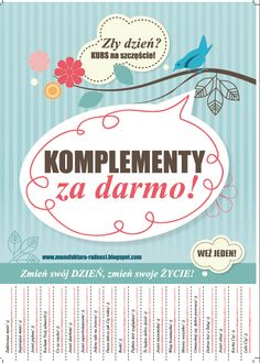 komplementy za darmo, akcja społeczna, akcja komplementy, dobre życie, słowa zmieniają życie Employee Awards, Social Emotional Activities, Polish Language, Class Games, Teachers Corner, Pop Up Cards, Art Therapy, Self Development, Class Meetings