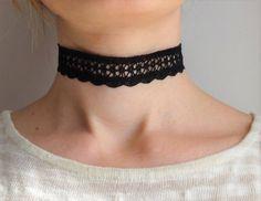 Black Lace Choker Necklace  Dainty Choker Necklace