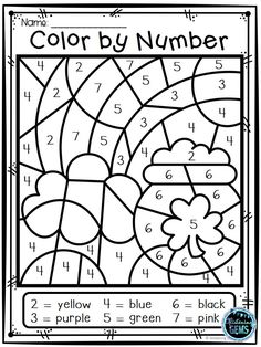 Your students will have fun coloring these 8 St. Patrick's Day Color by Number pictures! These St. Color By Number Printable, Printable Numbers, Kindergarten Coloring Pages, Kindergarten Themes, St Patricks Day Crafts For Kids, St Patrick's Day Crafts, Numbers 1 10, Color By Numbers, Preschool Learning