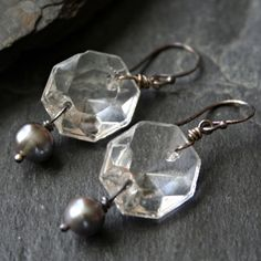 Vintage Chandelier Prism Gray Pearl Dangle by LeatherwoodDesigns, $26.00