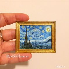 The Starry Night by Vincent van Gogh. Collectable dollhouse miniature handpainting. Watercolor.