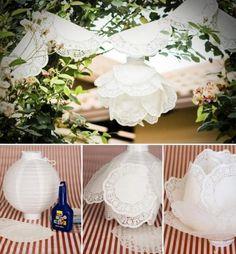www.weddbook.com everything about wedding ♥ How to make paper doily lanterns  for wedding decoration #weddbook #wedding #diy #craft #tutorial