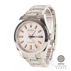 #Rolex Milgauss gents stainless steel automatic #watch with a white colour dial and stainless steel oyster bracelet