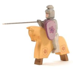 Ostheimer Red Riding Knight with Horse. Wooden toys made in Germany.