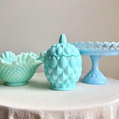 turquoise milk glass