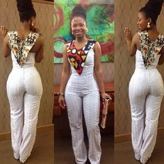 @mysyatta looking fab in white jumpsuit mixed with african prints..