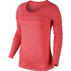Nike Dri-Fit Knit Shirt - Long-Sleeve ($80) ❤ liked on Polyvore featuring activewear, activewear tops and nike