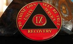Red Blacktri Plate Alcoholics Anonymous 9 Year Medallion Coin Chip Token | eBay