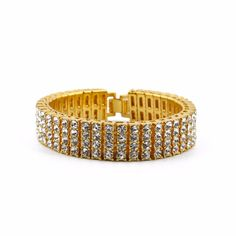 Free shipping 4 Raw big stone Chain Bracelet With AAA Rhinestones Hot selling High quality Classic Fashion Hiphop Bboy Bracelet