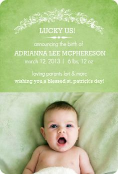 Lucky ME! just in time for St. Patrick's Day. Irish Luck Birth Announcement by PurpleTrail.com