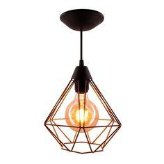 Pendente Aramado Diamante Cobre - Decoração Industrial Ceiling Lights, Lighting, Pendant, Home Decor, Products, Light Bulb Types, Decorative Objects, Bedroom, Lights