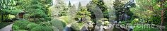 A panoramic photo of a Japanese garden with a shelter, pond, lantern, plants, and a waterfall.