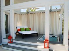 Fabulous Patio with Plank Wooden Patio Deck feat Black Wooden Daybed and Green Fabric Cushion complete with Cream Fabric Outdoor Patio Curtains feat White Whirlpool Bathtub Outdoor Curtain Rods, Outdoor Curtains, Outdoor Walls, Outdoor Rooms, Outdoor Living, Curtain Panels, Privacy Curtains, Privacy Screens, Patio Design
