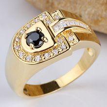 Men D-shape Clear White Topaz CZ Black Onyx Blue Sapphire Gold GF Pure 925 Sterling Silver Ring MAN GFS RV114 Size 9 10 11 12 13