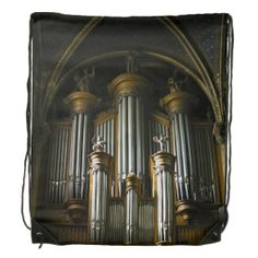 Drawstring backpack showing a French pipe organ