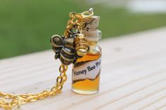 Organic Honey Bee Pot Glass 3ml Bottle Charm by tranquilityy, $11.00 -would be cute to pair with a pooh bear charm