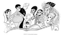 "Al Hirschfeld ~ Billy Crystal, Paul Lynde, Tom Poston, George Gobel, Jimmie Walker, Imogene Coca, and Roddy McDowall in ""Rabbit Test"", with director Joan Rivers"