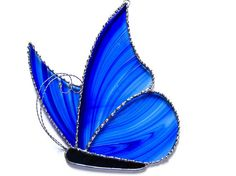 Stained glass suncatcher butterfly blue and by Nostalgianmore, $45.00
