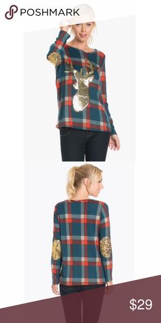 Festive Sweater with Sequins! Adorable sequin deer and elbow patch plaid print top. 95% Polyester 5% Spandex Made in USA The Blossom Apparel Tops Tees - Long Sleeve