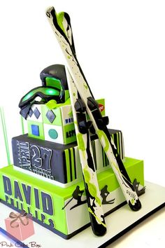 Winter & Ski Theme Bar Mitzvah Cake by Pink Cake Box - mazelmoments.com