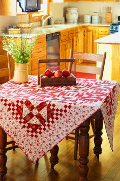 3d72964f32acf red + white + yellow country kitchen cottage + vintage + antique red and  white quilt tablecloth + apples