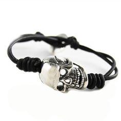 CHAN LUU MEN'S Single Wrap Bracelet with Sterling Silver Skull on Black Leather