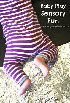 Baby play sensory activity using tin foil - Laughing Kids Learn Baby Sensory, Sensory Activities, Infant Activities, Sensory Play, Activities For Kids, Play Activity, Infant Sensory, Sensory Bins, Infant Games