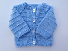 Hand Knitted Baby  Boy Cardigan - Sweater Newborn Reborn  0-2 Months Old Blue Color Soft Acrylic