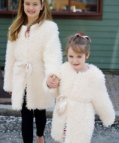 Loving this Donna Salyers' Fabulous-Furs Ivory Furry Sash Coat - Infant, Toddler & Girls on #zulily! #zulilyfinds