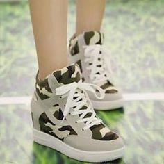 Zapatos de mujer - Tacón Cuña - Comfort / Punta Redonda - Sneakers a la Moda - Casual - Tela - Negro / Beige – EUR € 21.84