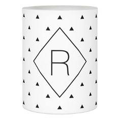 Elegant black white geometric pattern | triangles flameless candle - simple gifts custom gift idea customize