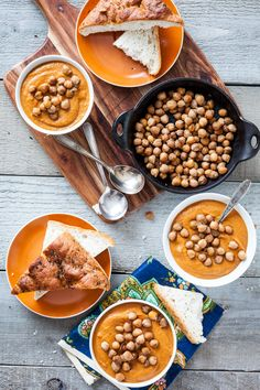 Spicy Almond Carrot Soup with Skillet-Roasted Chickpeas  |  Keepin' It Kind