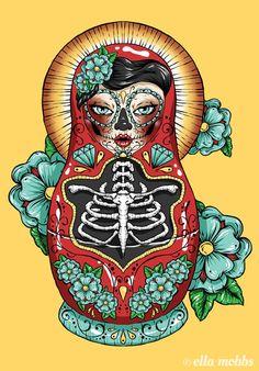 "Day of The Dead Russian Doll"" Canvas Prints by Ella Mobbs Russian Doll Tattoo, Nesting Doll Tattoo, Los Muertos Tattoo, Sugar Skull Art, Sugar Skulls, Tattoo Project, Desenho Tattoo, Matryoshka Doll, Sister Tattoos"
