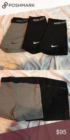 Nike Pro bundle! Black, Black, Gray Veryyyyy gently worn, super comfortable, great for working out. willing to sell separately! each for $40 Nike Other
