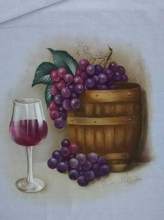 Fabric Painting, Fabric Art, Wine Bottle Glass Holder, Ladybug Rocks, Pig Drawing, Wine Art, Still Life Art, Decoupage Paper, Acrylic Art