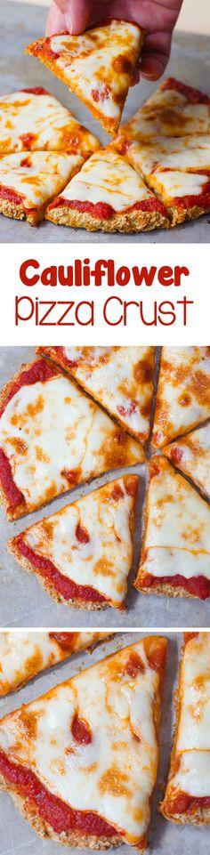 Cauliflower Pizza Crust - Ingredients: 1 cauliflower, 1/4 cup water, 1 tsp oregano, 2 tbsp... it's completely vegan and gluten free!