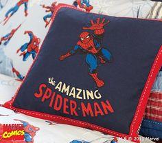 spiderman room, spiderman boy's room, boy bedroom, decorative pillows, boy rooms, throw pillows, spiderman pillow, pottery barn kids boys room, kid room