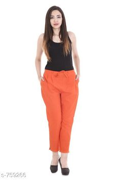 Checkout this latest Women Trousers Product Name: *Stylish Cotton Flex Women's Pant* Fabric: Cotton Flex Waist Size: S- 22 in to 26 in M - 26 in to 30 in L - 30 in to 34 in XL - 34 in to 38 in XXL - 38 in to 42 in 3XL- 42 to 46 in Length: Up To 40 in           Type: Stitched Description: It Has 1 Piece Of Women's Pencil Pant Pattern: Solid Country of Origin: India Easy Returns Available In Case Of Any Issue   Catalog Rating: ★4 (490)  Catalog Name: Stylish Premium Cotton Flex Pencil Pants Vol 1 CatalogID_86466 C79-SC1034 Code: 123-759266-957