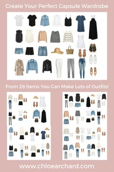 Create your perfect capsule wardrobe: Step by step guide - Chloe Archard, Capsule Outfits, Fashion Capsule, Mode Outfits, Capsule Wardrobe Summer, Travel Wardrobe Summer, Capsule Wardrobe How To Build A, Wardrobe Sets, Wardrobe Basics, Ikea Wardrobe