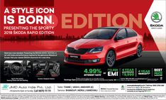 View Skoda A Style Icon Is Born Presenting The Sporty 2018 Skoda Rapid Edition Ad newspaper. This Ad is collection of Sample Ad at Advert Gallery. Car Advertising, Ads, Car Banner, Car Car, Mumbai, Sporty, India, Times, Logos
