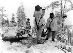 Finnish troops observing the field on the Russo-Finnish border prior to the outbreak of the Winter War, Nov 1939