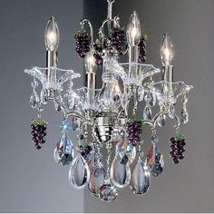Classic Lighting Garden of Versailles 4-Light Crystal Chandelier Crystal Type: Cherries Ametyst, Finish: Chrome