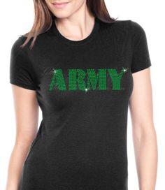 Army Rhinestone Shirt by GlamRhinestones on Etsy, $25.00